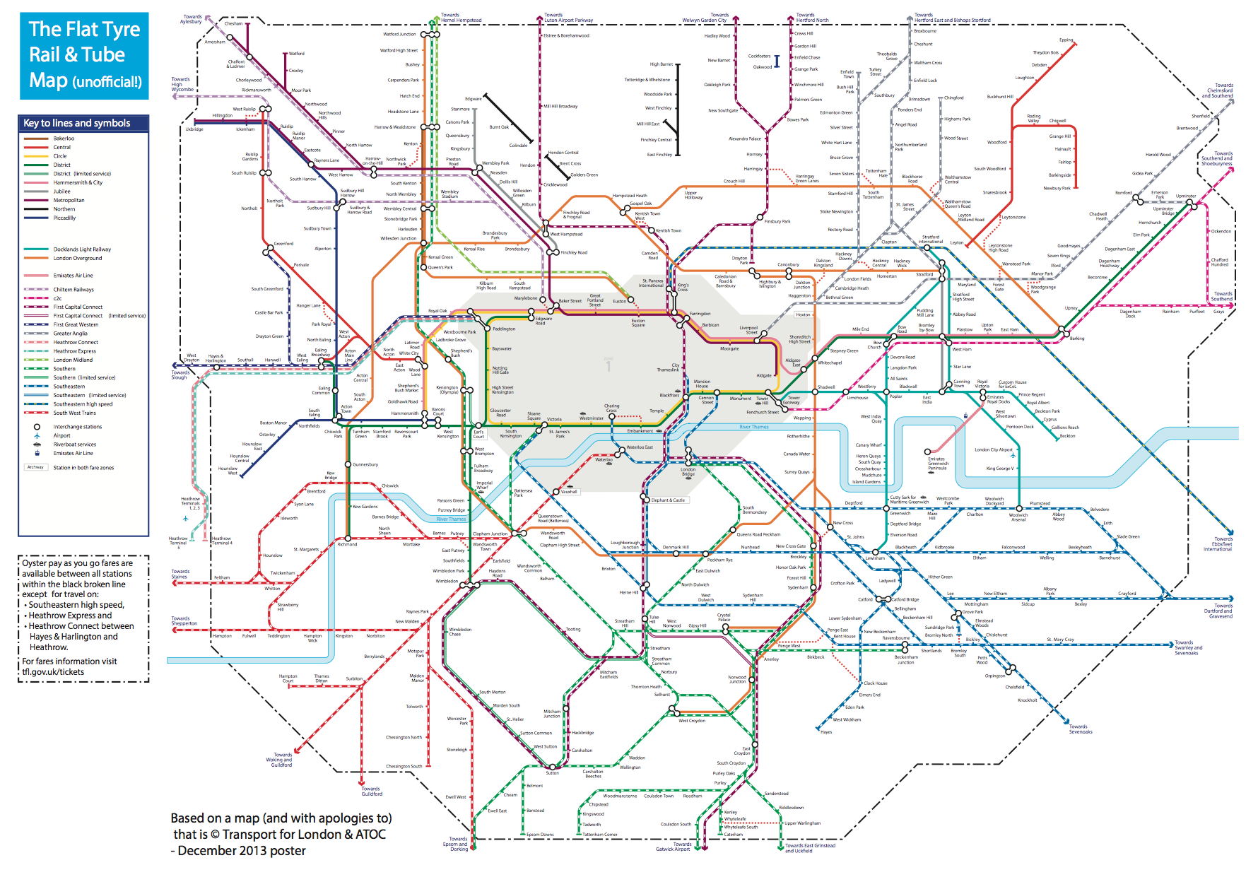 Transport For London Map.The Flat Tyre Tube Map Suprageography