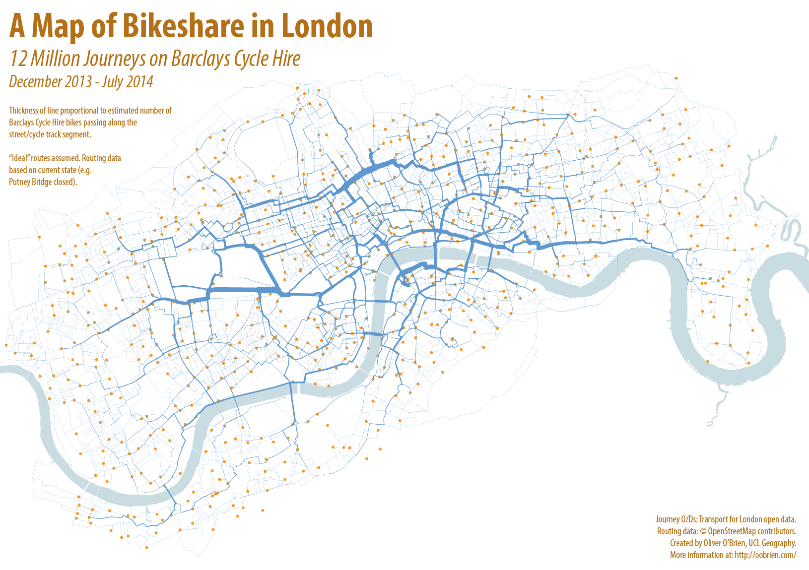 Barclays Cycle Hire Map From Putney to Poplar: 12 Million Journeys on the London Bikeshare