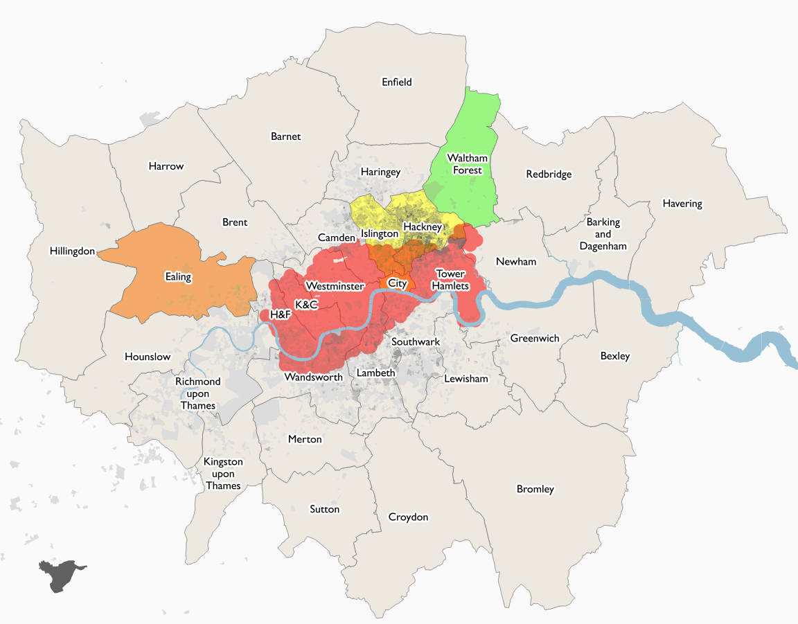 bikeshare system coverage in london november 2017 shading proportion of people who cycle to work